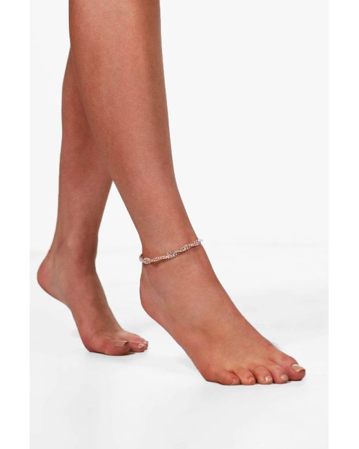 Boohoo | Metallic Lena Twisted Multi Chain Diamante Anklet | Lyst