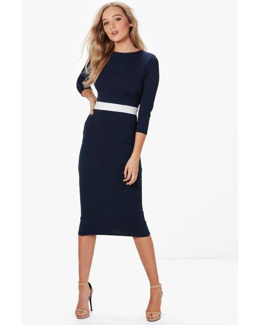 Boohoo | Blue Louise Formal Waist Pleat Detail Midi Dress | Lyst