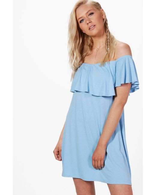 Boohoo | Blue Louise Frill Detail Off The Shoulder Swing Dress | Lyst