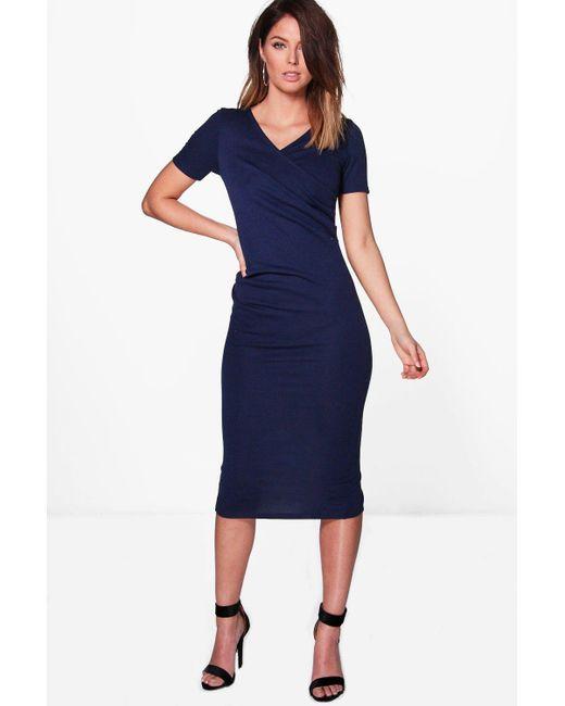 Boohoo | Blue Olivia Wrap Ruched Midi Dress | Lyst