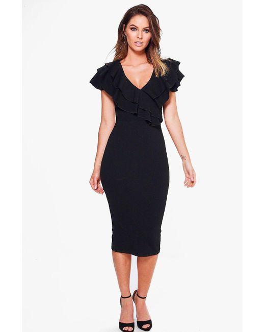 Boohoo | Black Lucy Frill Wrap Detail Midi Bodycon Dress | Lyst