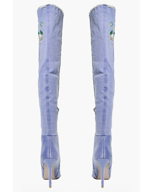 Boohoo neve denim embroidered thigh boot in blue lyst