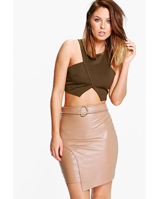 Boohoo | Brown Asha D Ring Leather Look Mini Skirt | Lyst
