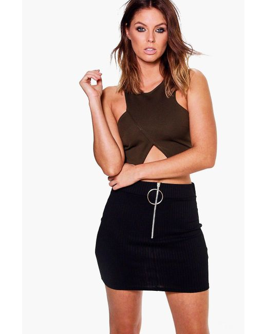Boohoo | Black Sophie Zip Detail Ribbed Mini Skirt | Lyst