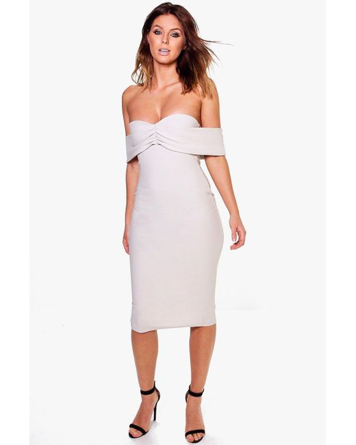 Boohoo | Gray Sia Off Shoulder Gathered Fine Rib Midi Dress | Lyst