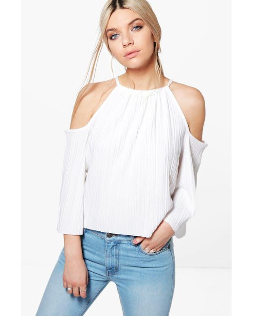 Boohoo | White Callie Pleated Cold Shoulder Tie Top | Lyst