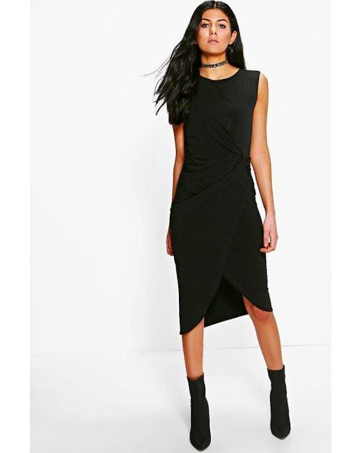 Boohoo   Black Lexi Drape Midi Dress   Lyst