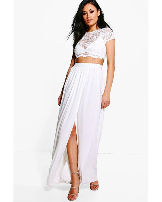 Boohoo | White Keira Lace Crop Bralet And Maxi Skirt Co-ord | Lyst