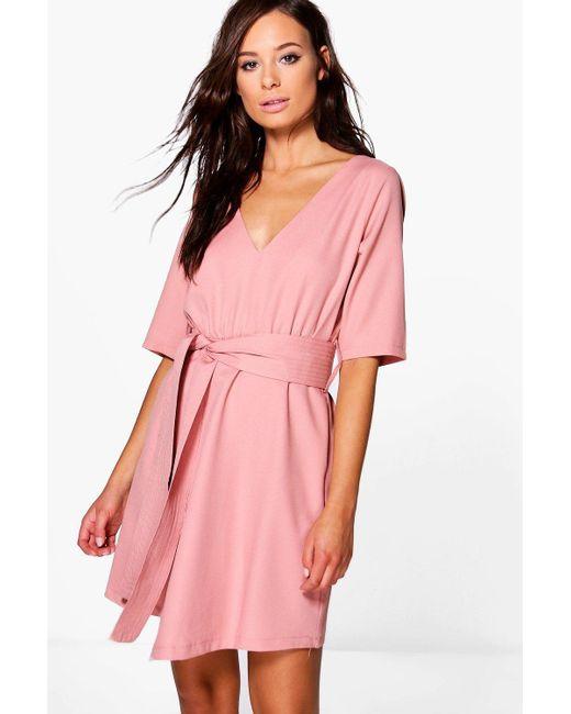 Boohoo | Pink Caoimhe Plunge Wrap Shift Dress | Lyst