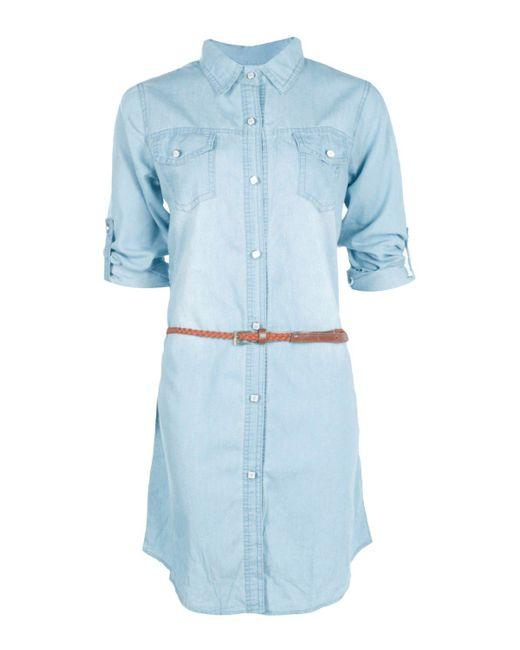 boohoo dalia denim shirt dress with plait belt in blue lyst