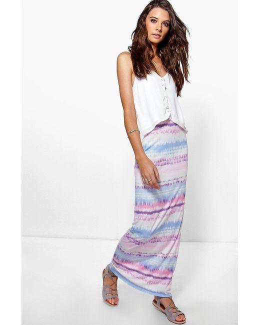 boohoo amer pastel tie dye maxi skirt lyst