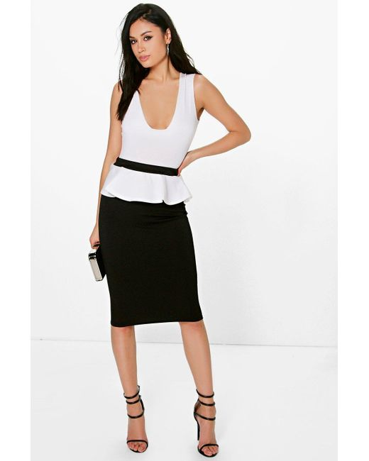 boohoo monochrome contrast peplum midi skirt in black