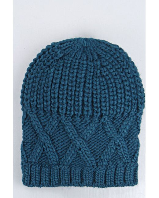 Boohoo Amber Cross Stitch Knit Beanie Hat in Teal - Save 42% Lyst
