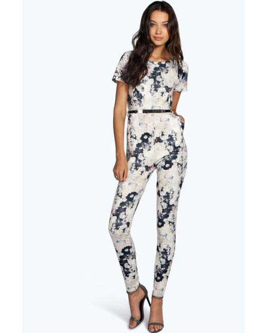 Yellow multi color floral belted jumpsuit