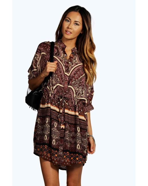 Boohoo Ana Woven Paisley Print Shirt Dress In Red Berry