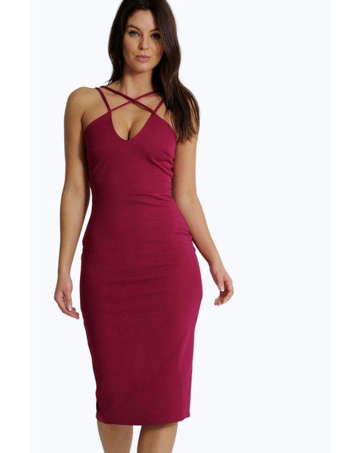Boohoo | Red Clara Strappy Detail Bodycon Midi Dress | Lyst