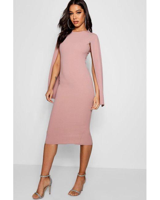 0d8299b726a3 Boohoo - Pink Cape Sleeve Bodycon Midi Dress - Lyst ...