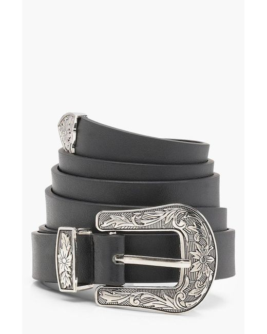 Boohoo - Black Plus Western Buckle Belt - Lyst