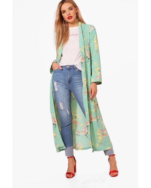 Boohoo | Green Sophie Oriental Print Kimono | Lyst