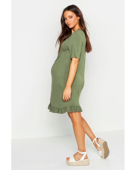 d8dd1e0ee1801 ... Boohoo - Green Maternity Frill Hem T-shirt Dress - Lyst
