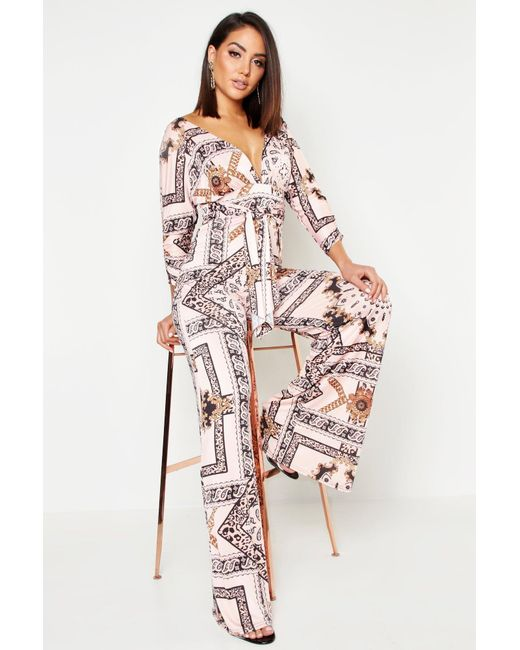826df5f3888 Boohoo - Pink Slinky Chain Print Wide Leg Plunge Jumpsuit - Lyst ...