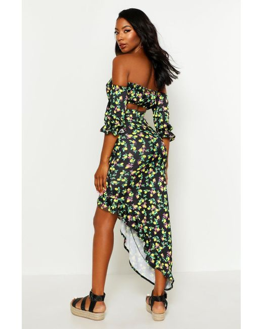 c1a99751993e4 ... Boohoo - Black Lemon Print Top & Asymetric Maxi Skirt Co-ord - Lyst
