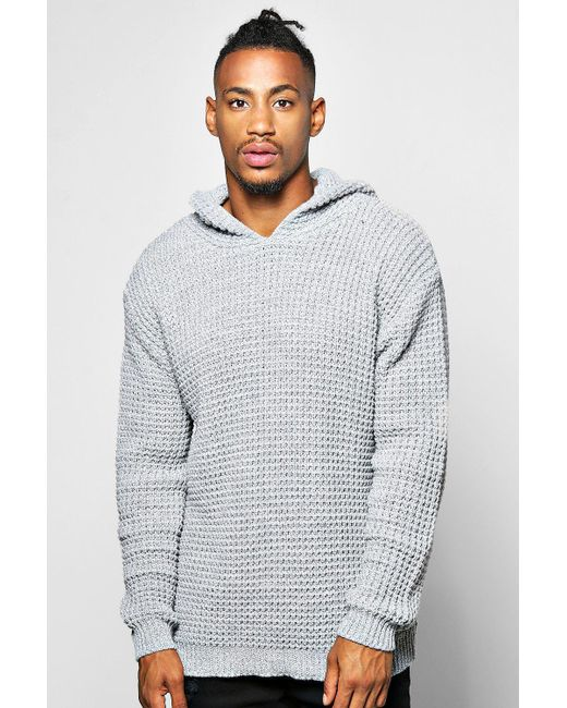 Boohoo | Gray Waffle Stitch Hoodie for Men | Lyst
