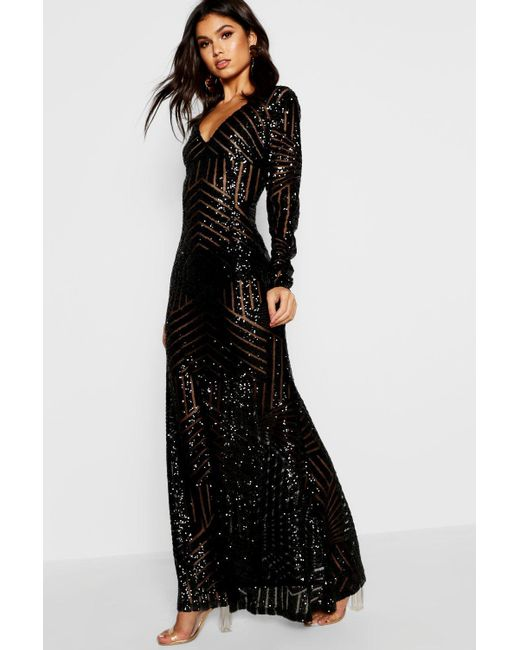 142c4faf Boohoo Boutique Mia Sequin & Mesh Plunge Neck Maxi Dress in Black - Lyst