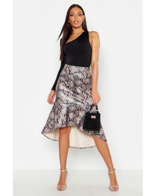 b2ed1fbdf Boohoo - Black Snake Leather Look Mermaid Midi Skirt - Lyst ...