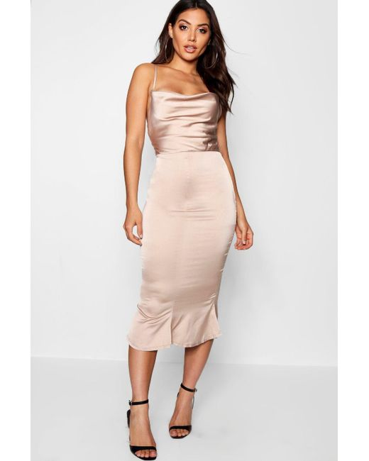 cba04d36edf Boohoo - Pink Satin Cowl Neck Lace Up Fish Tail Midi Dress - Lyst ...