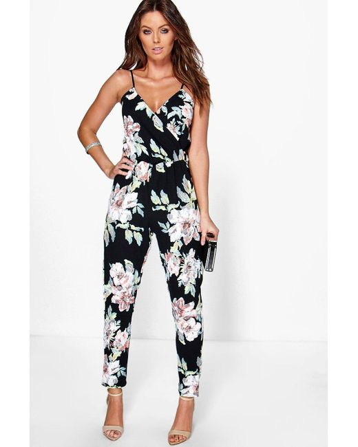 Boohoo - Black Fiona Floral Print Cami Wrap Strappy Jumpsuit - Lyst