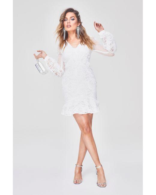 10578ef199fe Boohoo - White Premium Lace Chiffon Ruffle Mini Dress - Lyst ...