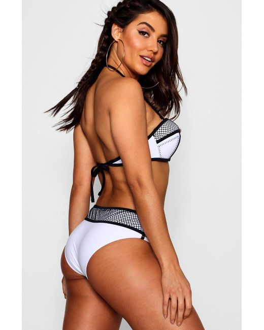 deb8357d03300 ... Boohoo - White Hvar Mesh Stitch Detail Underwired Bikini - Lyst ...