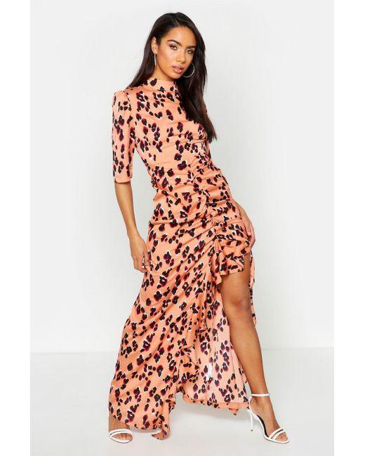 0ac31c0697537 Boohoo - Pink High Neck Ruffle Front Animal Print Maxi Dress - Lyst ...