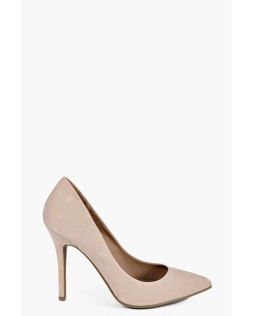 Boohoo - Natural Pointed Court Shoes - Lyst