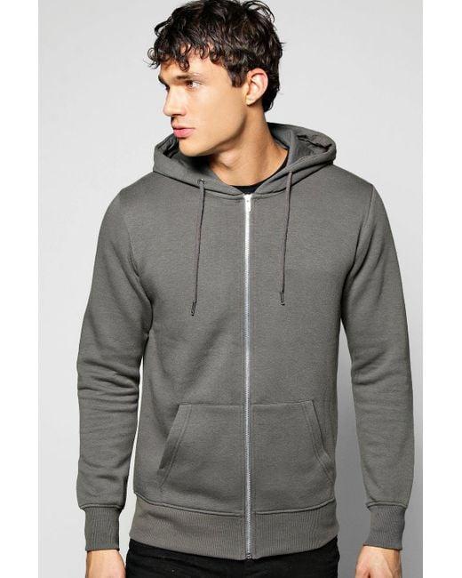 Boohoo   Gray Zip Through Hoodie for Men   Lyst