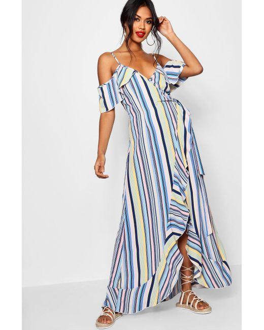 70d0f47f5e1 Boohoo - Blue Ruffle Striped Wrap Maxi Dress - Lyst ...