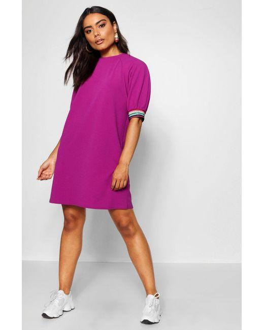 eaa07afb4b6e Boohoo - Purple Rainbow Trim Puff Sleeve Shift Dress - Lyst ...