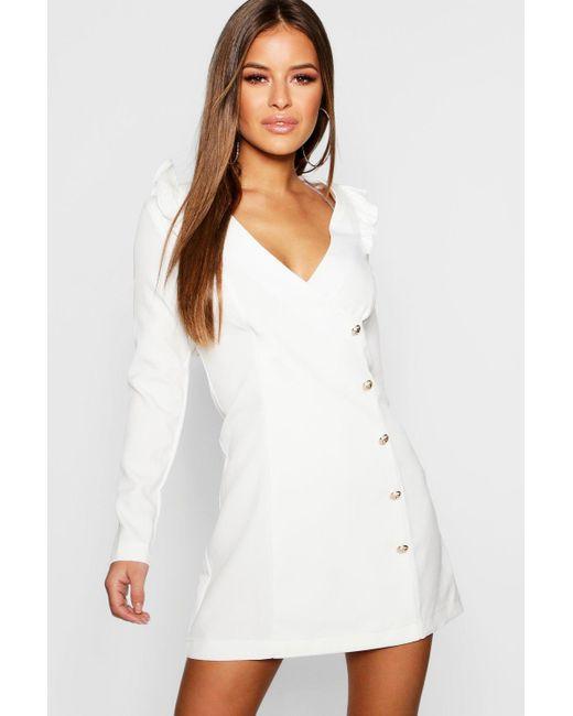 f4abd62be8433 Boohoo - White Petite Button Detail Blazer Dress - Lyst ...