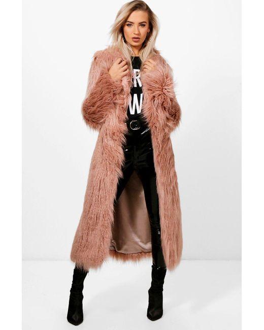 fb0e012532fff7 Boohoo - Pink Boutique Mongolian Maxi Faux Fur Coat - Lyst ...