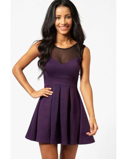 4647942d822d Boohoo - Purple Skater Dress - Lyst ...