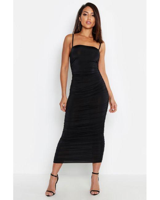 26e4122ef9cb6 Boohoo - Black Strappy Square Neck Ruched Midaxi Dress - Lyst ...