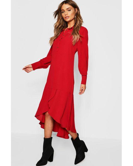 87dacc2429005 Boohoo - Red Shirt Dress Hem Ruffle Detail Midi Dress - Lyst ...