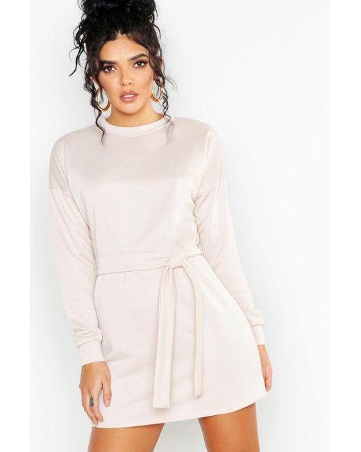 d2ba8d29a3dc Boohoo - Multicolor Self Belt Mini Sweat Dress - Lyst ...