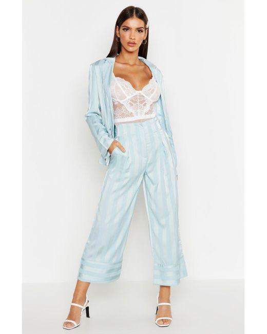 00d0c5000af8 Boohoo - Blue Satin Stripe Wide Leg Trouser - Lyst ...