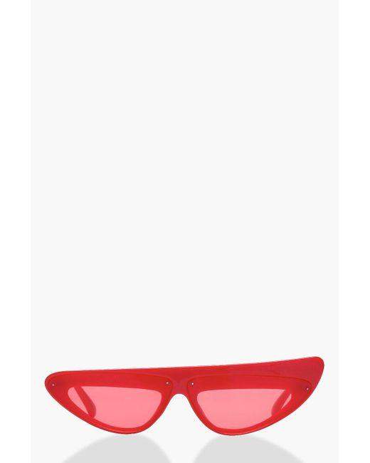 Boohoo - Red Flat Top Cat Eye Sunglasses - Lyst