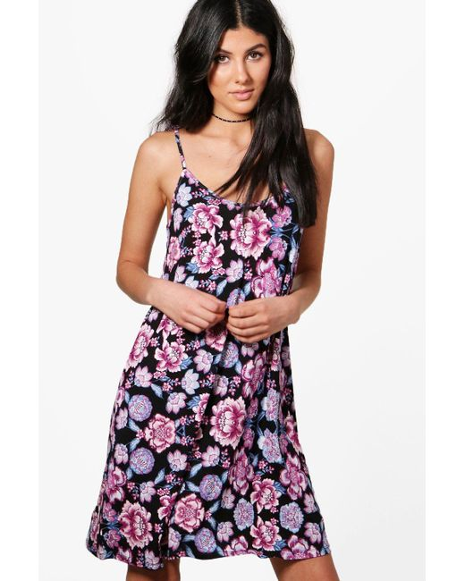 2551ad553031 Boohoo - Purple Floral Print Tie Strappy Swing Dress - Lyst ...