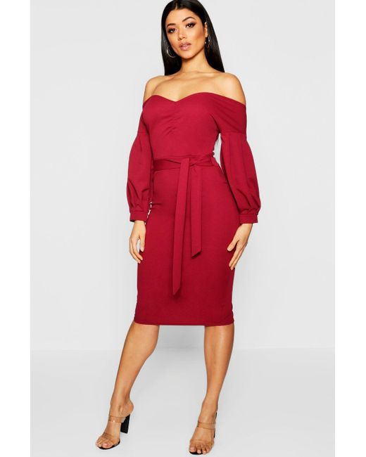 d93ce3b4e153 Boohoo - Red Florence Off The Shoulder Midi Dress - Lyst ...