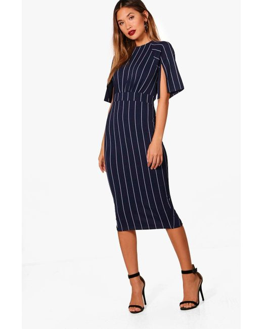 Boohoo - Blue Stripe Split Sleeve Wiggle Midi Dress - Lyst
