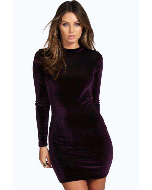 Boohoo - Black Velvet High Neck Bodycon Dress - Lyst